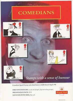 1998 Post Office A4 Poster Grille Card - Comedians
