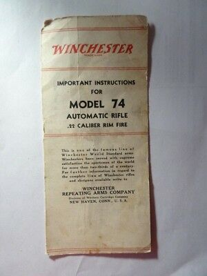 Original Winchester Model 74 Automatic Rifle Owners Manual/Instructions