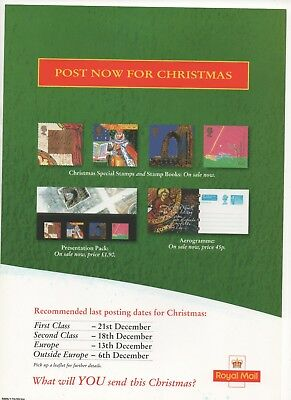 1999 Post Office A4 Poster Grille Card - Christmas Posting Dates