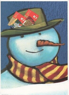 1999 Post Office A4 Poster Grille Card - Christmas Booklets Snowman
