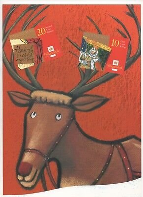 1999 Post Office A4 Poster Grille Card - Christmas Booklets Raindeer