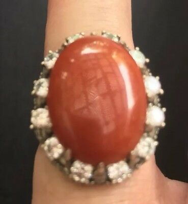 Large Carnelian And Clear Rhinestone Sterling Ring