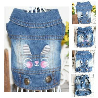 DENIM JACKET FOR Dog Cute Face Pattern Vest Apparel Jeans