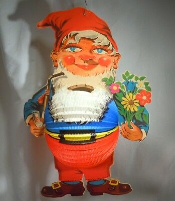 Vintage Large Christmas Honeycomb Diecut Gnome Candle Holder     52901