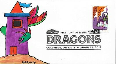 FDC Dragons #1 Columbus OH August 9 2018 ALL NEW FOR 2018 Hand Painted Cache