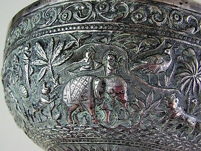 Antique 19th Century Siam / Thai Sterling Silver HAND CHASED Relief Bowl Vase