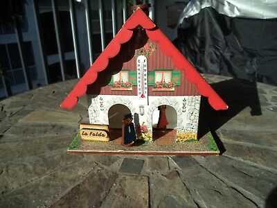 """Weather House Wooden & Cardboard 6"""" tall with Thermometer C. F."""