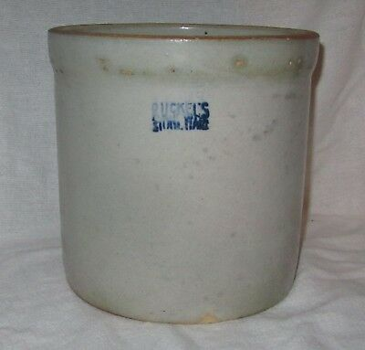 """Antique Ruckel's Stone Ware Crock 7 3/4"""" High Marked"""