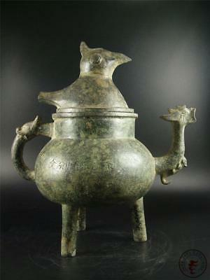 Very Large Old Chinese Bronze Made Wine Pot Statue Collectibles