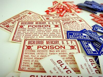 Antique Vintage Apothecary Pharmacy Drug Store ORIGINAL LABELS LOT of POISON +++