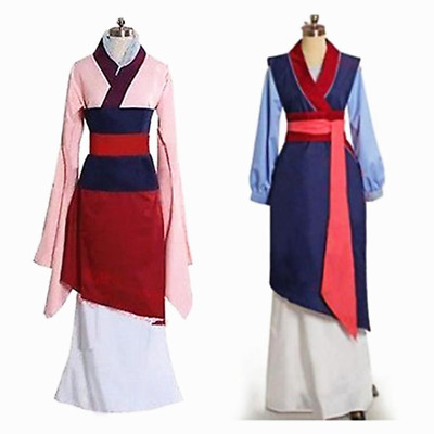 Movie Hua Mulan Blue&Pink Dress Mulan Princess Dress Cosplay Costume Fancy Dress