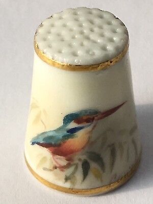 Antik Fingerhut Thimble Porzellan Porcelain Royal Worcester Painter Powell