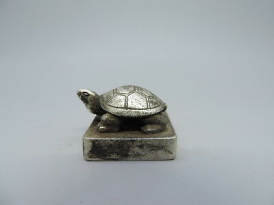 Japanese Ancient Tibet Silver Seal Office Kanji Wax Stamp Seal Tortoise Statue I