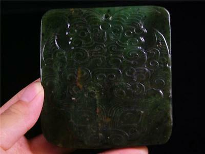 LARGE Old Chinese Nephrite Spinach Green Jade Pendant Netsuke POWERFUL DRAGON