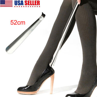 22inch Professional Stainless Steel Long Handle Shoe Horn Lifter Shoehorn Silver