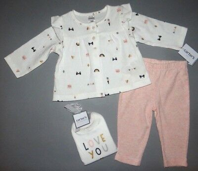 Baby girl clothes, 6 months, Carter's Little Baby Basics 3 piece set