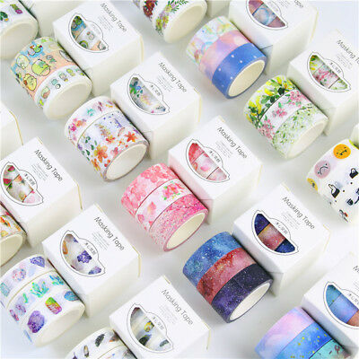 3 Rolls Washi Masking Tape Set Petal Animal Flower Paper Washi Tape 15mm x 5m