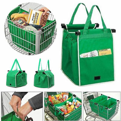 Set of 2-4 NEW Reusable Shopping Trolley Bags Eco-Friendly Grocery Cart Carrier