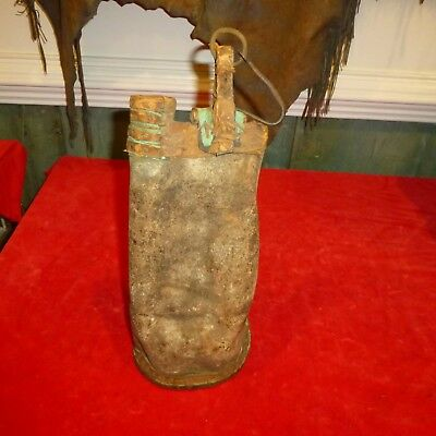 """Rare Orig Ca 1870 Native American Plains Indian 15"""" Hide Stiched Water Bag -Exc"""