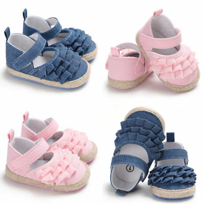 Soft Fabric Baby Shoes Pram Lovely Girls  0-6,6-12,12-18,18-24 Months Blue/Pink