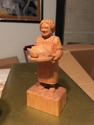 SIGNED WOOD CARVING-A  WOMAN Cooking Turkey Thanksgiving Mom VB