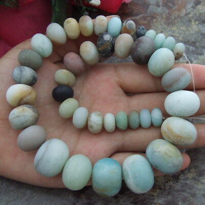 """Natural 10-20mm Amazonite Graduated Frosted Rondelle Gemstone Beads 15.5"""" Strand"""