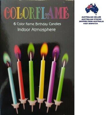 """ColorFlame """"6 COLOURED FLAME BIRTHDAY CANDLES"""" Colour Their Special Day"""