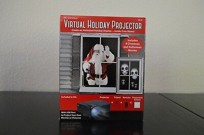 Virtual Holiday Projector Christmas Santa Claus Halloween Window Screen NEW