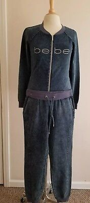 Bebe Women's Tracksuit Denim Cotton Size S Nwt Track And Sweatpants