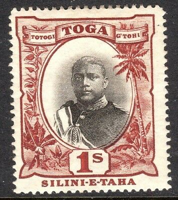 Tonga 1897 black/brown 1/- mint perf 14 SG50