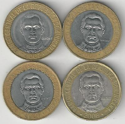 4 BI-METAL 5 PESO COINS from the DOMINICAN REPUBLIC (2002, 2005, 2007 & 2008)