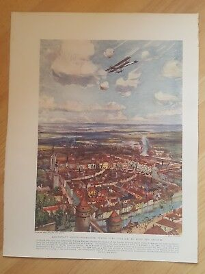 ANTIQUE PRINT- WWI Lieut Rhodes-Moorhouse Royal Flying Corps actions for V.C.