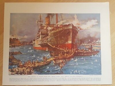 """World War One ANTIQUE PRINT- Landing of troops from the """"River Clyde"""" Gallipoli"""