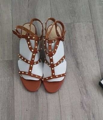 Missguided Tan Studded Gladiator Heels Size 6