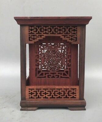 Chinese Noble Hexagon Shape Rosewood Hollow Out Carve Square Character Brush Pot
