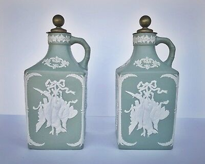 Vintage Antique Sage Green Square Porcelain Bottles With Brass Stoppers Pair
