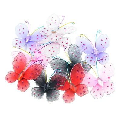 10x Mesh Butterfly Mixed Color Diamante Craft Wedding Party Table Decoration