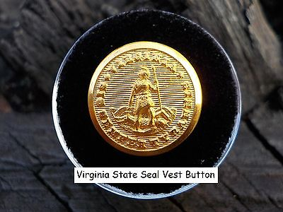 Old Rare Vintage Antique War Relic Virginia State Seal Button Free Display Case