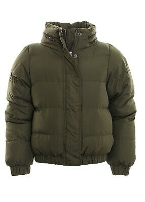 Kid's Hooded Puffer Quilted Padded Bomber Jacket School Parka Coat  Khaki Age 7-
