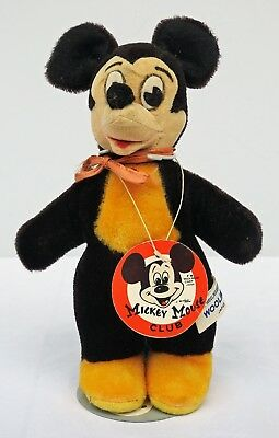 """Vintage 9"""" Mickey Mouse Woolikin by Woolnough Original Mickey Mouse Club Tag NR!"""