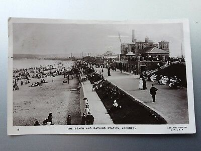 Beach And Bathing Station, Aberdeen. Adelphi  Series Real Photograph Postcard