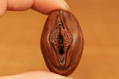 ancient chinese old Boxwood Hand Carved Door Of Life Statue Pendant Netsuke