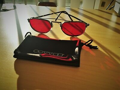 Oliver Peoples Sunglasses original OP-45 with fight club Blood RED Clip on