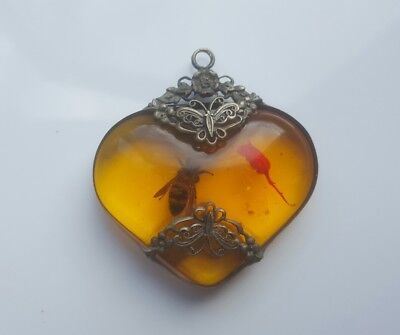 Rare Large Antique Silver Amber Wasp Cameo Heart Pendant .