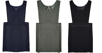 Kids Girls School Uniform Pleated Bib Pinafore Dress 3 Colours Ages 2-16