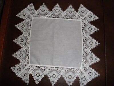 Beautiful White Hanky Trimmed In Lavish Nottingham Lace