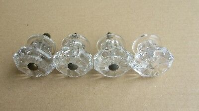Lot 4 Sandwich Glass Style Clear Cut Glass Drawer Door Pulls 1 3/4""