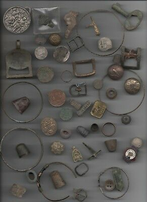 Bulk Lot Items Found With Metal Detector Including Silver Bracelet, Thimbles -