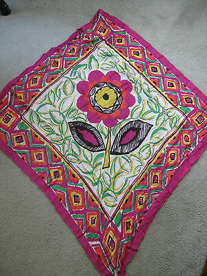 Vtg Dimensions Rayon Pink Red Green Yellow Large Flower Print Rayon Scarf Wrap