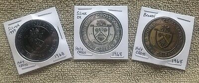 3 Coins Holy Cross Tigers high school 1968 New Orleans Mardi Gras .999 Silver